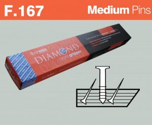 F167 - Diamond Dual Purpose Carpet Gripper Pre-nailed for Concrete and Wooden Floors, Medium Pin