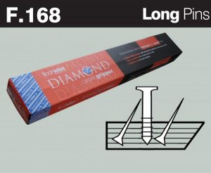 F168 - Diamond Dual Purpose Carpet Gripper Pre-nailed for Concrete and Wooden Floors, Long Pin