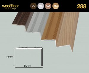 Stick Down Edge 15mm As 287, but for use with wood or laminate underlay. Length / Tube Qty 2.7m x 10 = 27m Cat. No: 288MG Matt Gold Cat. No: 288MS Matt Silver Cat. No: 288OA Oak Cat. No: 288DO Dark Oak