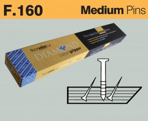 F160 - Diamond Carpet Gripper Pre-nailed for Wood Floors, Medium Pin